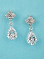 "Cubic Zirconia/Clear Top Star Shape Dangling Pear Stone 1.5"" Post Earring"