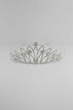 Clear/Silver Hollow Rhinestone With Halo Style Gem Crown