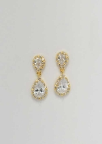 "Cubic Zirconia/Gold Two Linked Pear 1"" Post Earring"