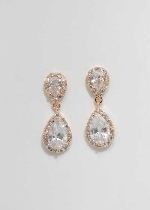 """Cubic Zirconia/Rose Gold Two Linked Pear 1"""" Post Earring"""