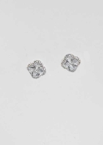 Cubic Zirconia/Silver Four Leaves Flower Shape Post Earring