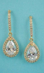 "Cubic Zirconia/Gold Top Hook Shape Dangling Pear Stone 1.5"" Post Earring"
