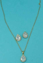 Clear/Gold Cubic Zirconia Single Pear Stone Set