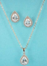 Cubic Zirconia/Rose Gold Pear Shape Set