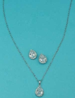 Cubic Zirconia/Silver Pear Shape Set