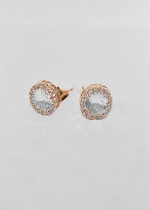 "Cubic Zirconia/Rose Gold Clip Oval Shape 1"" Earring"