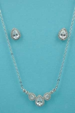 Cubic Zirconia/Silver Three Stones Drop Shape Set