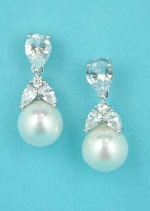 "Cubic Zirconia/Pearl Silver Top Leaves Shape Bottom Pearl 1"" Post Earring"