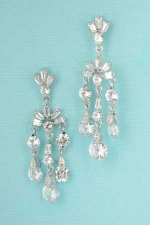 Cubic Zirconia Silver 3 Dangle Round/Baguette Stone post Earring