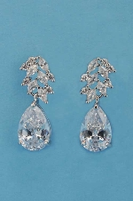 Cubic Zirconia/Silver Top Small Leaf Bottom Pear Earing