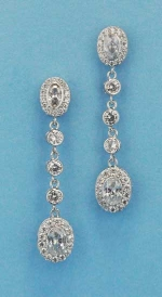 "Cubic Zirconia/Clear Linked Oval Stone 1.5"" Post Earring"