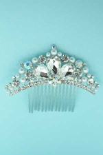 White Pearl/AB/Clear Silver Clear Pear Stone Round AB Stone Comb