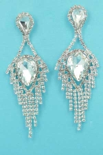 "Clear Silver Dancing Rows Center Pear Stone 3"" Post Earring"