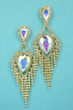 "Aurora Borealis/Clear Gold Dancing Rows Center Pear Stone 3"" Earring"
