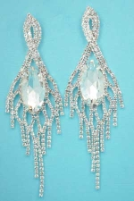 "Clear Silver Center Marquise Stone Dancing Rows 3.5"" Post Earring"