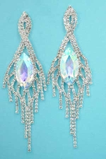 "Clear Aurora Borealis Silver Center Marquise Stone Dancing Rows 3.3"" Post Earring"