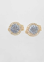 Cubic Zirconia/Gold Clip Round Shape Earring