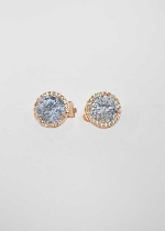 Cubic Zirconia/Rose Gold Clip Single Round Stone Earring