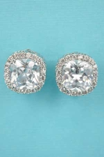 "Cubic Zirconia/Clear Silver Single Round Stone 0.5"" Clip Earring"