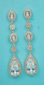 """Cubic Zirconia/Rose Gold Multiple Dangling Stone 2"""" Post Earring"""