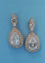 """Clear/Rose Gold Top Marquise/Bottom Pear 1.5"""" Post Earring"""