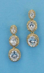 "Cubic Zirconia/Gold Three Linked Oval Stone 1.5"" Post Earring"