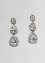 "Cubic Zirconia/Silver Three Linked Pear Shape 1.5"" Post Earring"