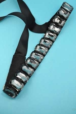 Black Diamond/ 1 Line Big Emerald Stone Belt