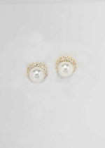 Cubic Zirconia/Pearl Gold Single Round Stone Earring