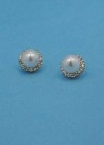 Pearl/Cubic Zirconia Gold Single Small Round Stone Earring