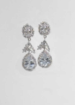 "Cubic Zirconia/Silver FLower Shape 1.5"" Post Earring"