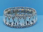 Clear/Silver One Row Marquise Stretch Bracelet