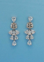 """Cubic Zirconia/Rose Gold Multiple Dangle Pear Stone 1.5"""" Post Earring"""