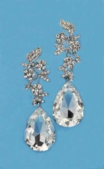 "Clear/Silver Top Branch Bottom Pear 2"" Post Earring"