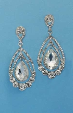 """Clear/Silver Round/Pear Shape 2"""" Post Earring"""