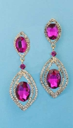 "Fuchsia/Clear Gold Linked Marquise Shape 2.5"" Post Earring"
