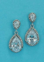 "Cubic Zirconia/Silver Top Small Pear/Medium Bottom Pear Stone 1.5"" Post Earrring"