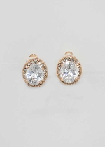 "Clip/Rose Gold Clip Single Oval Shape 1"" Earring"