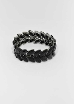 Jet/Black Two Marquise Rows Stretch Bracelet