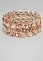 Light Peach/Rose Gold Two Rows Marquise Stretch Bracelet