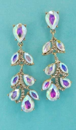 "Aurora Borealis/CLear Gold Branch Shape 2.5"" Post Earring"