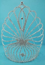 Clear/Silver Small Round Stone Crown 9""