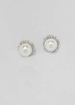 Cubic Zirconia/Pearl Silver One Round Stone Earring