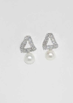 """Cubic Zirconia/Pearl Top Twisted Triangle 1"""" Post Earring"""