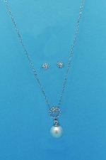 Pearl/Cubic Zirconia Round Pearl/Round Shape Set