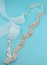 Clear/Silver Wave Shape Round Stone Belt