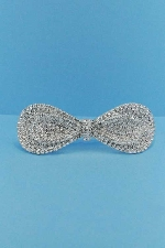 Clear/Silver Bow Tie Small Round Stone Barrete