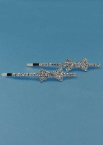 Clear/Silver Small Bow Tie Barretes