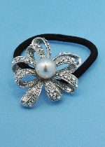 Pearl/Clear Silver Flower Shape Pony Tail