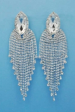 "Clear/Silver Clip 5"" Big Top Marquise Dangle Rows Small Round Stones Earring"